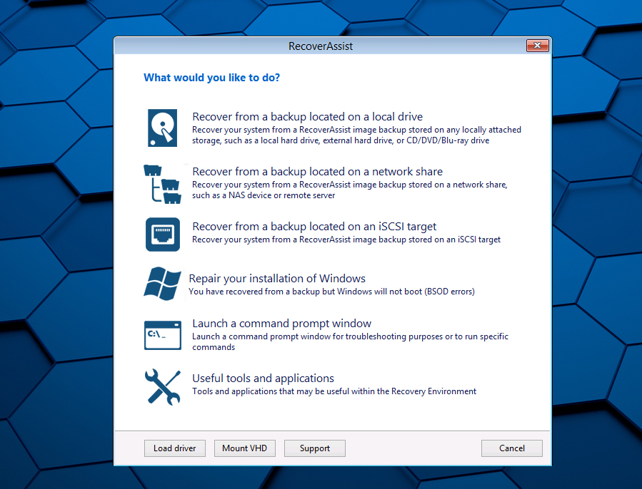 RecoverAssist is used to perform bare-metal recoveries of Windows servers